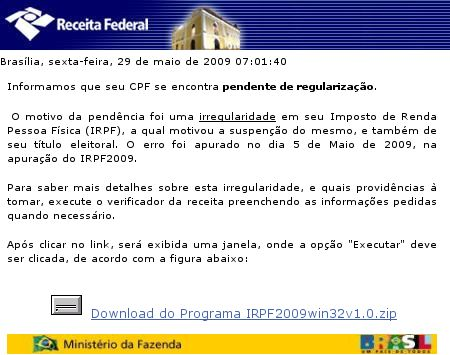 Corpo do e-mail de phishing da Receita Federal